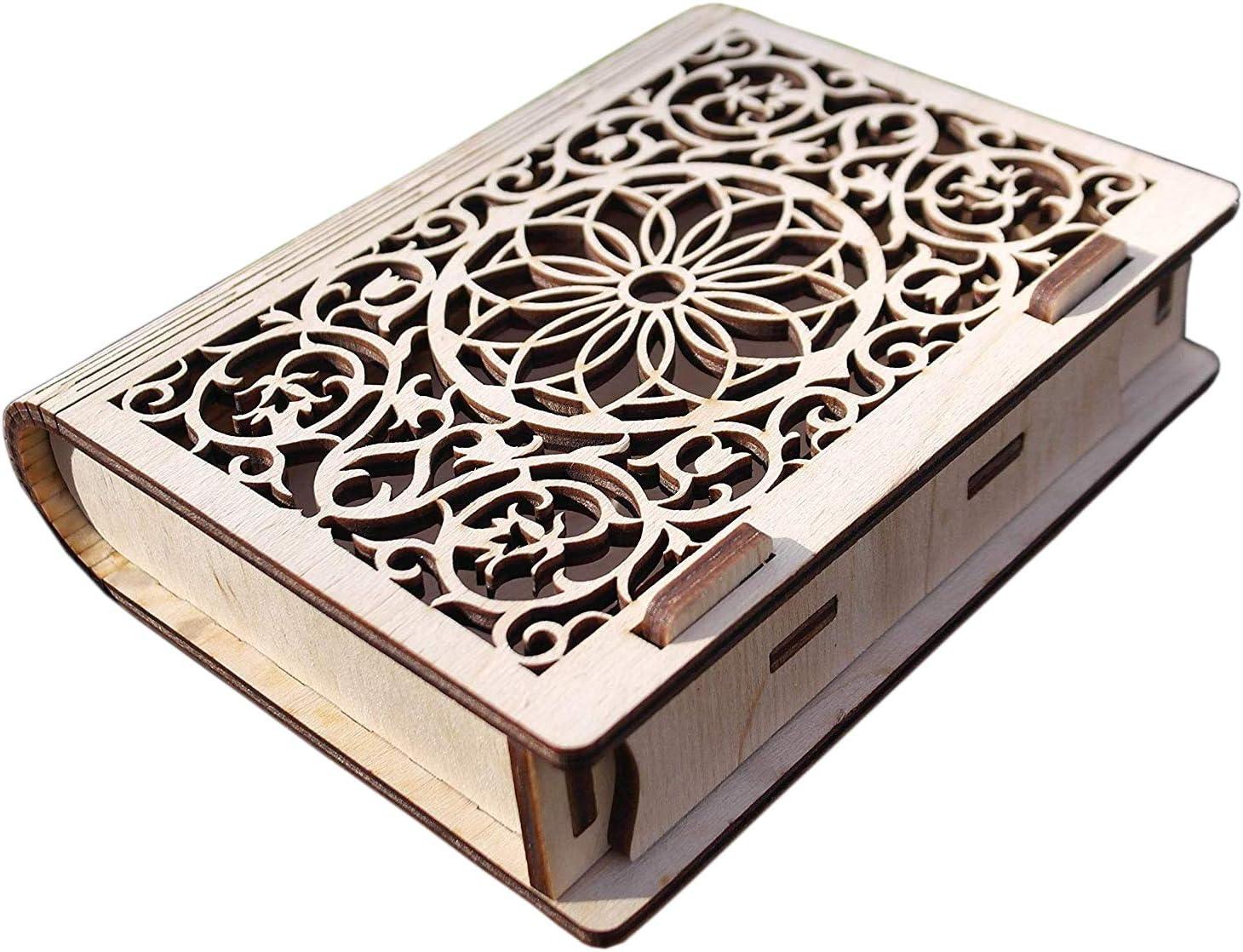 Wooden Jewelry Book Box