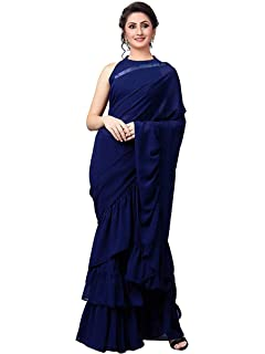 0647768d7d INDDUS STYLE DIVAA WITH DEVICE OF LADYFACE Women's Georgette Ruffle ...