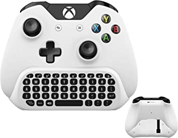 Teclado inalámbrico ChatPad para Microsoft Xbox One S teclado blanco con receptor USB con conector de audio y auriculares para Xbox One Elite y ...