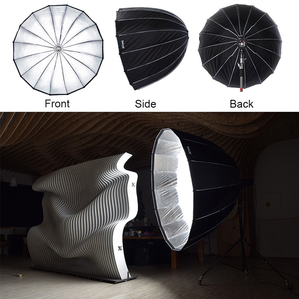 Selens Parabolic Softbox 75 inches / 190 Centimeters, Hexadecagon Deep Portable and Quick Folding Softbox Diffuser with Bowen Mounts for Studio Light and Speedlite Flash by Selens (Image #4)