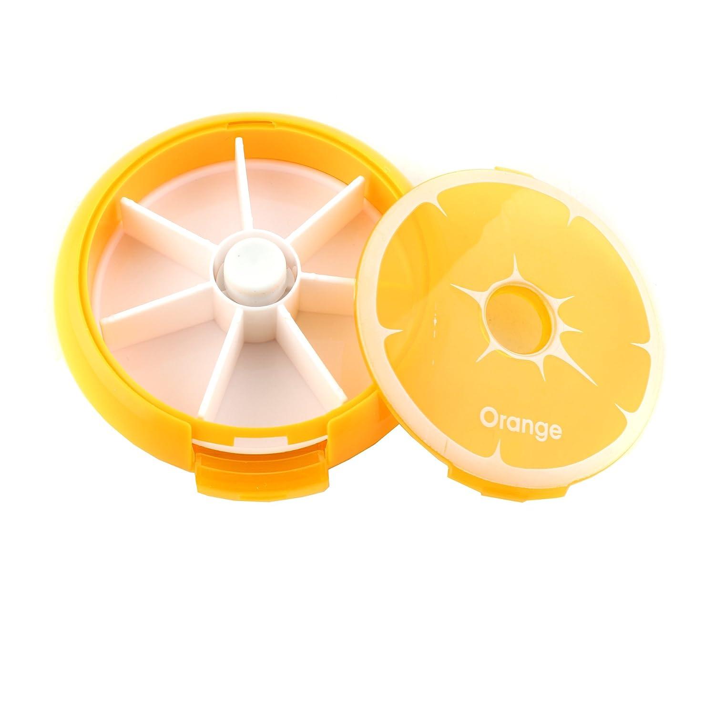 Arancione SYMTOP Portapillole Medicina Organizzatore Rotondo Scatola Stile Arancia per Pillole Settimanale Contenitore
