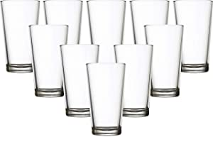 Circleware 40216 Simple Home Set of 10 Highball Tumbler Drinking Glasses, Heavy Base Ice Tea Beverage Cups Glassware for Water, Beer, Juice, 15.7 oz,