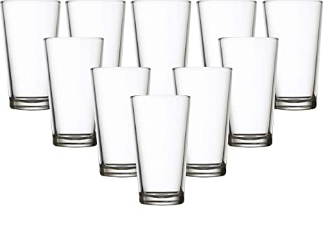 Circleware Huge 10-Piece Glassware Set Highball Tumbler Drinking Glasses,  Kitchen Entertainment Heavy Base Ice Tea Beverage Cups for Water, Beer, ...