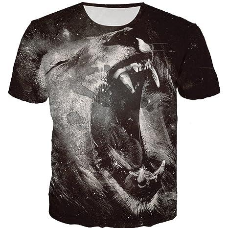Mens Lion 3D Camiseta de impresión Camiseta Manga Corta Camiseta Blusa Tops de Internet: Amazon.es: Ropa y accesorios