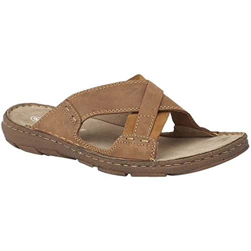 04cd238c46a1 Lotus Since 1759 Mens Brown Leather  Murdoch  Slip On Sandals 9   Amazon.co.uk  Shoes   Bags