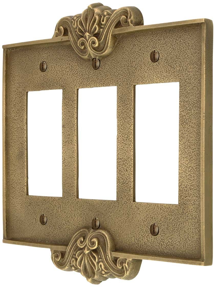 Art Nouveau Triple Gfi Cover Plate In Antique-By-Hand Finish