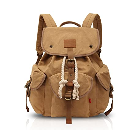 8b203a29fd971 FANDARE Vintage Traveling Hiking Backpack School Daypacks Laptop Women and  Men Large Bag Canvas Khaki