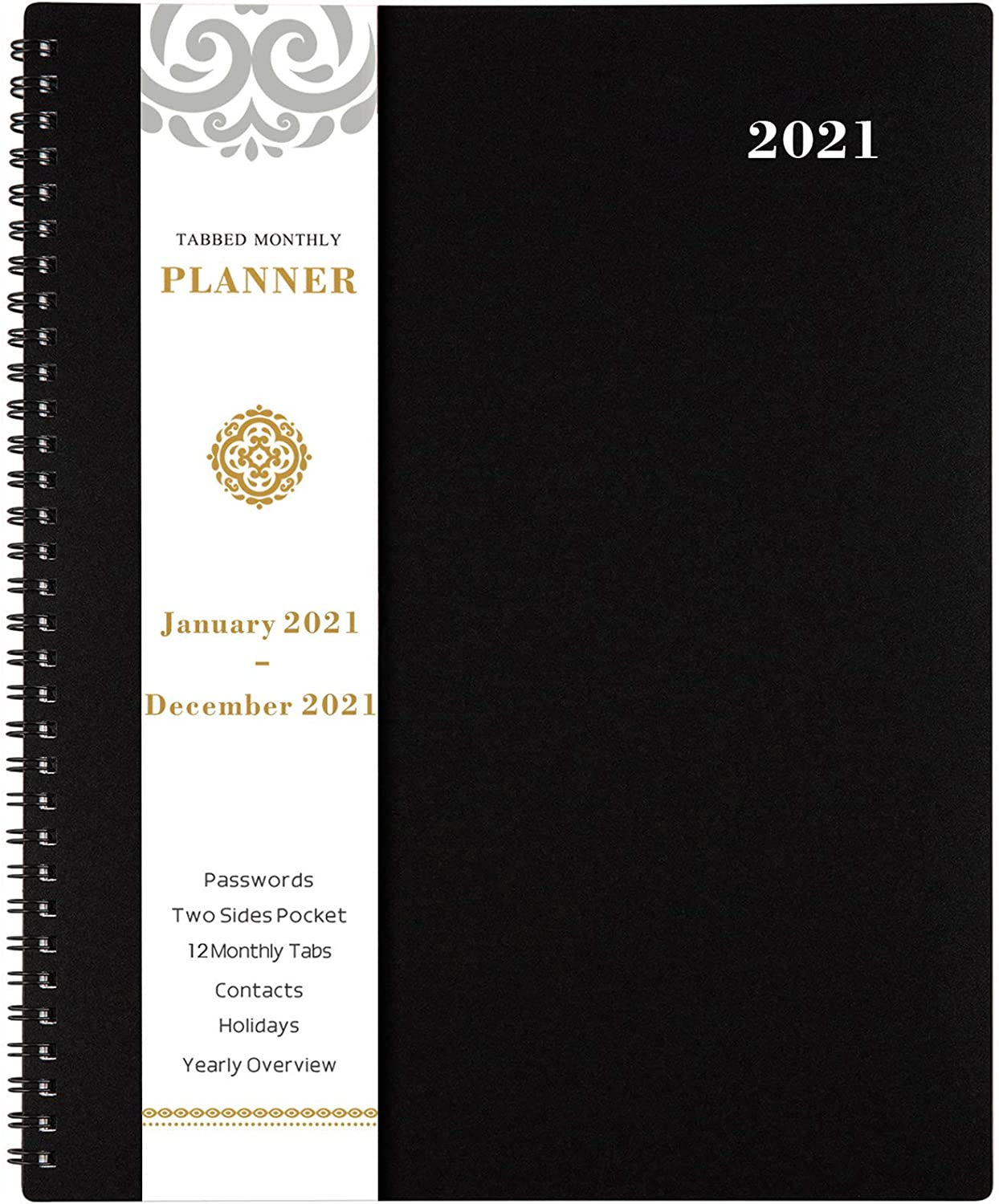"""2021 Monthly Planner - 12-Month Planner with Tabs & Pocket & Label, Contacts and Passwords, 8.5"""" x 11"""", Thick Paper, Jan. - Dec. 2021, Twin-Wire Binding - Black by Artfan : Office Products"""