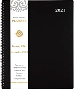 "2021 Monthly Planner - 12-Month Planner with Tabs & Pocket & Label, Contacts and Passwords,8.5"" x 11"", Thick Paper, Jan. - Dec. 2021, Twin-Wire Binding - Black by Artfan"