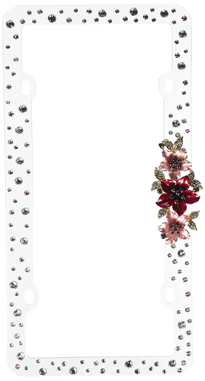 Valor LPF7DT001PNM 3D Jewelry and Crystal License Plate Frame