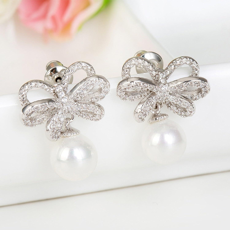Beydodo Bridal Earrings Dangling Crystal Earring Wedding Bow Round Cut White Cubic Zirconia