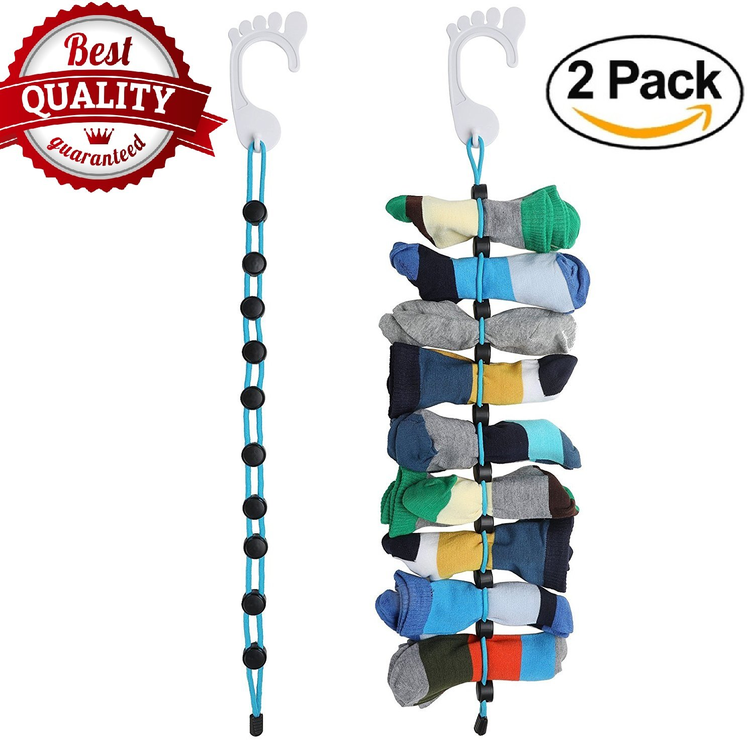 Amazon.com: Sock Organizer, Easy Clips & Locks Paired Socks without Ties, Bags, Dock or Dividers for Laundry (Black + White) (2 Pcs): Home & Kitchen
