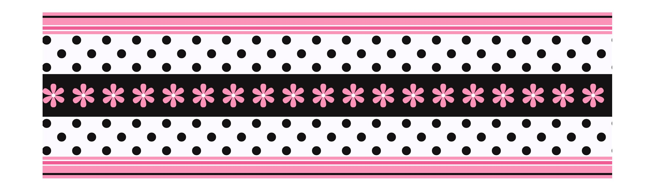 York Wallcoverings Candice Olson Kids CK7719B Daisy Ribbon Border, Pink/Black
