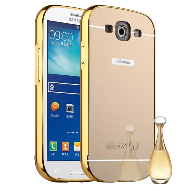 LXHGrowH Funda Espejo Aluminio Metal Carcasa para Samsung Galaxy S3 SIII i9300/S3 Neo i9301 Color Oro