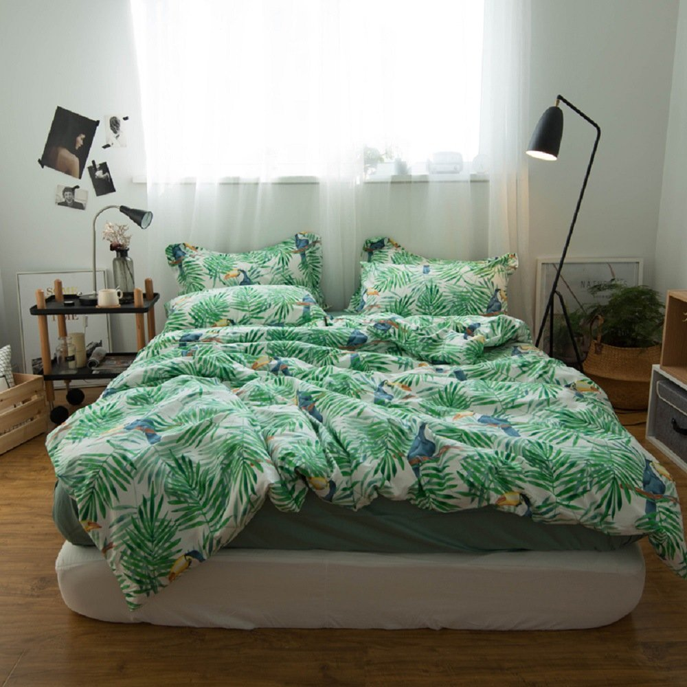 Jane yre Tropical Green 3 Piece Duvet Cover Set Bedding Set.Hawaiian Duvet Covers Tropical Woodpecker Bedspread Green Leaves Quilt Cover Queen Size by Jane yre (Image #1)