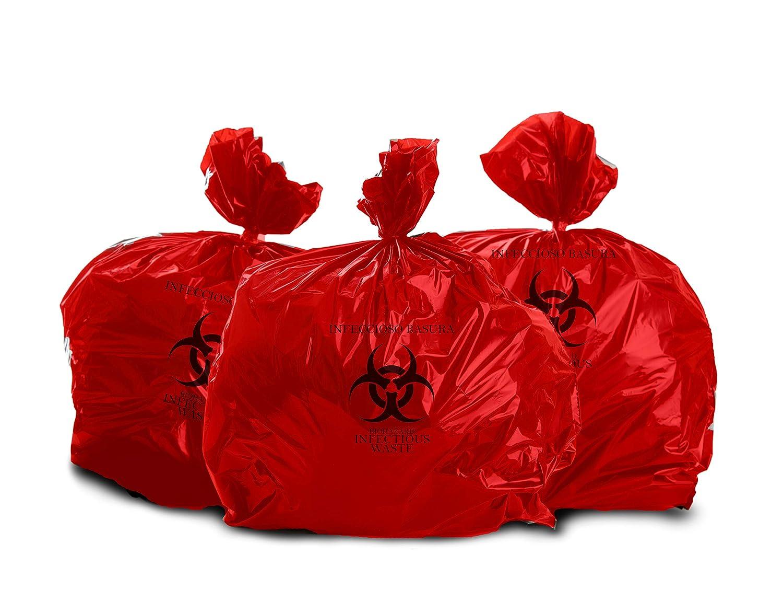 Roll of 10 Oakridge Heavy Duty 40 Gallon Biohazard Waste Bags Hospital Grade OAKRIDGE PRODUCTS