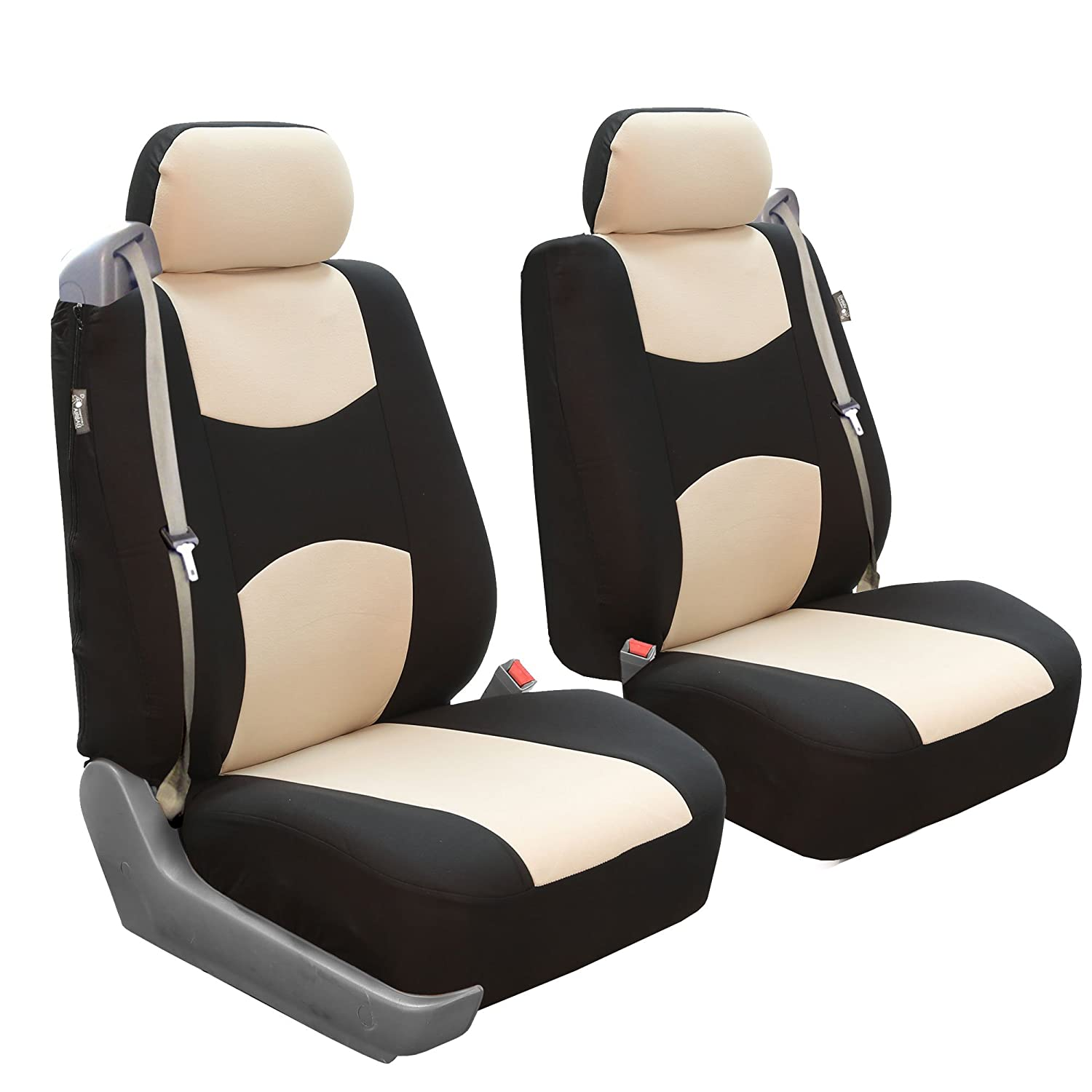 Set of 2 FH Group FB351GRAY102 Gray Flat Cloth Built-in Seatbelt Compatible Low Back Seat Cover