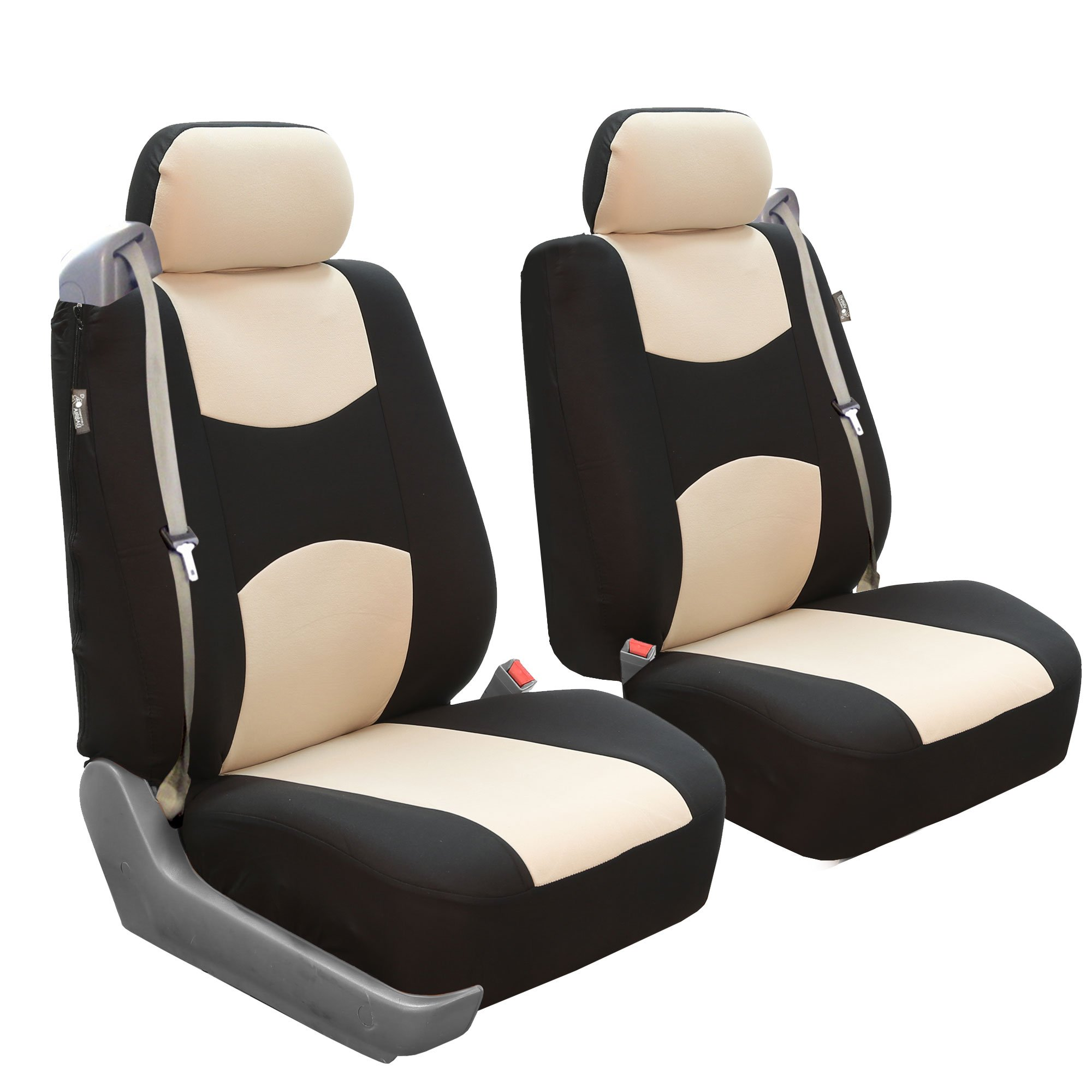 FH GROUP FH-FB351102 Pair Set All Purpose Flat Cloth Built-In Seat Belt Bucket Seat Covers Beige/Black- Fit Most Car, Truck, Suv, or Van