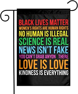 POYOMUK Science is Real Black Lives Matter Summer Garden Flag Birthday Outdoor Decor Garden 12x18 inch Double Sized Yard Flag