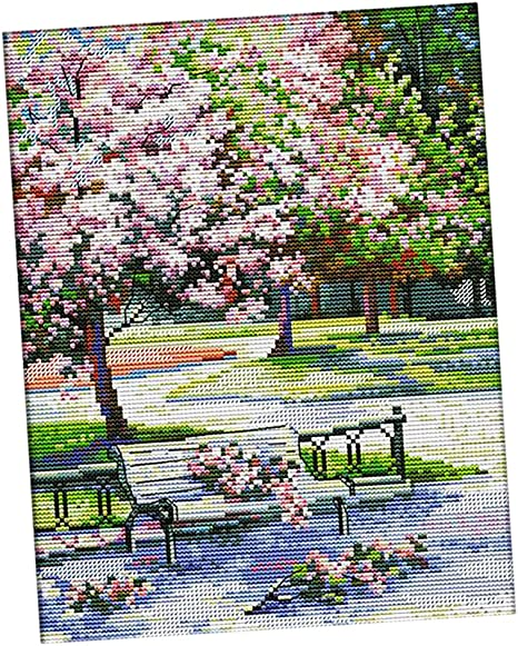 54/×44cm 14CT Baoblaze Beautiful Cabin Pattern Stamped Cross Stitch Kit with Color Chart DIY Needlecaft for Beginners Adults Kids