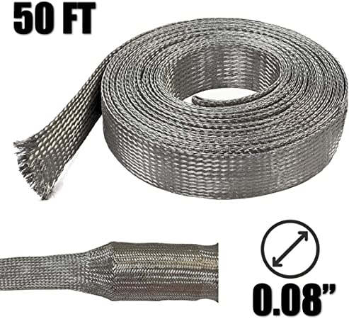 NYLON BRAIDED SLEEVING WIRE HARNESS COVERING LOOM WRAP WOVEN SLEEVE 1//8/'/' 30ft