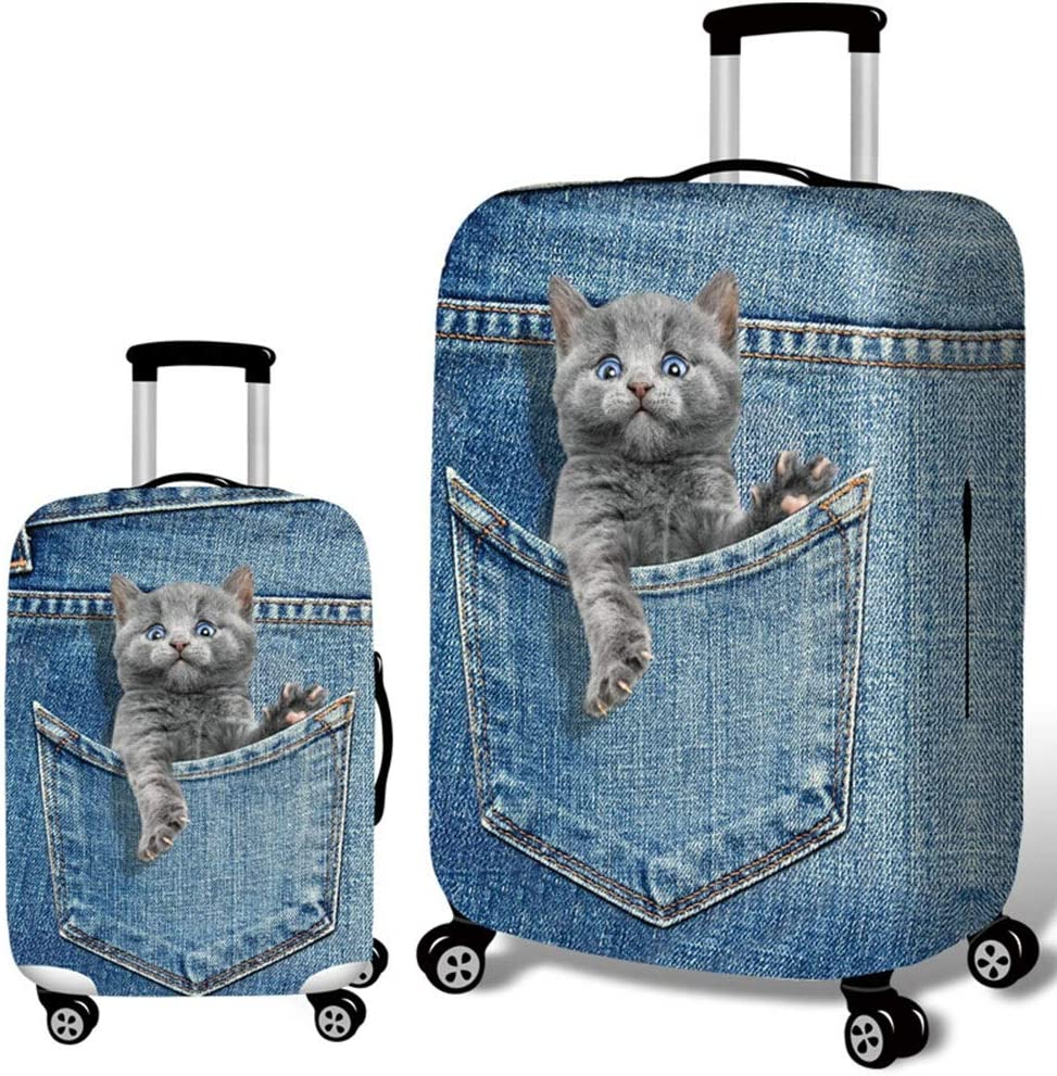 Xiejuanjuan Spandex Luggage Cover for Travel Jeans Animal Travel Luggage Cover Washable Suitcase Cover Fit 18-32 Inch Luggage Color : E, Size : M 22-24