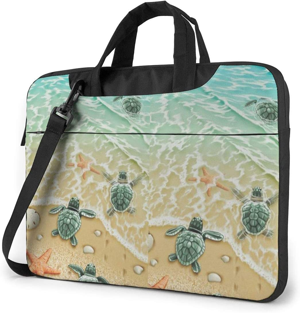 Novelty Laptop Bag 15.6 Inch Laptop Sleeve Case with Shoulder Straps & Handle/Notebook Computer Case Briefcase Compatible with MacBook/Acer/Asus/Hp - Turtles On The Beach