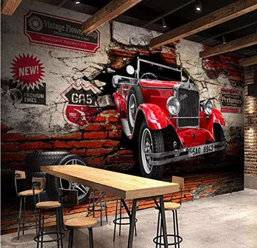 Custom Photo Wall Paper 3D Retro Red Car Broken Wall Murals ...