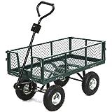 Gotobuy Steel Garden Cart with Folding Sides, 400 lb. Load Capacity , 38''L X 20''W X 22.5''H , Green