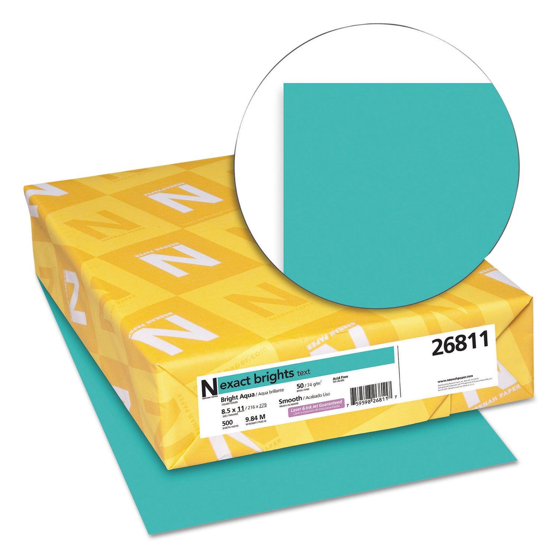 Neenah Paper 26811 Exact Brights Paper, 8 1/2 x 11, Bright Aqua, 20lb, 500 Sheets