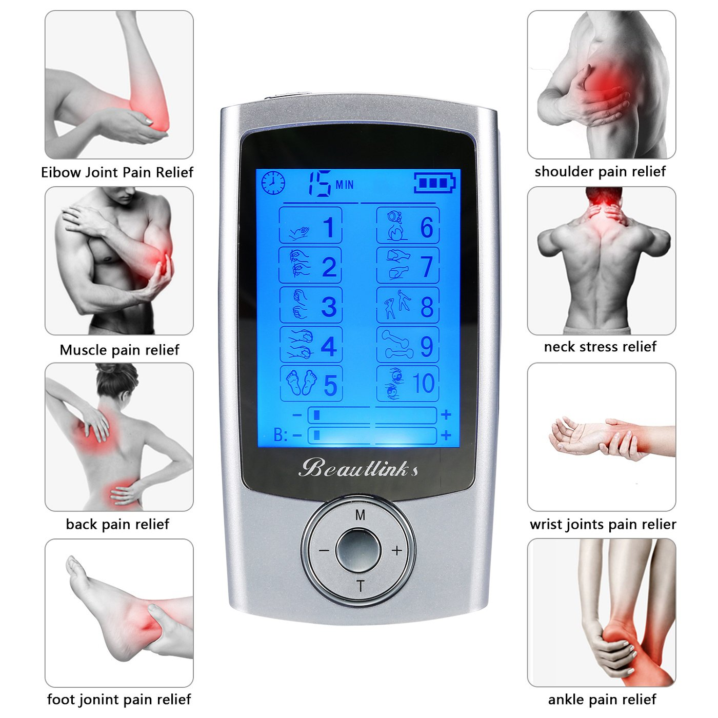 Rechargeable FDA Cleared TENS Units Muscle Stimulator, EMS TENS Machine with 8 Pads Independent-Control A/B Channel for Pain Management and Rehabilitation Muscle Relief (Sliver)