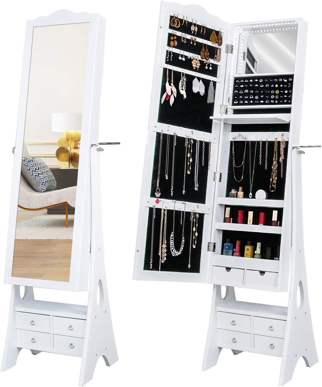 Led Mirrored Jewelry Cabinet Organizer Full Length Standing Jewelry Storage Armoire With Makeup Tray Large Capacity 6 Drawers 3 Adjustable Angle And Hair Dryer Storage White Home Kitchen