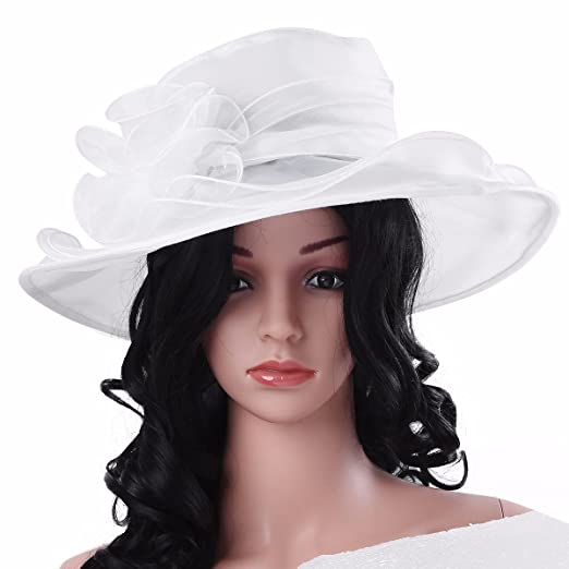 3e844aa21a3 FEESHOW Women s Organza Kentucky Derby Church Dress Hat Wide Brim  Fascinator Tea Party Wedding Bridal Hats White one Size at Amazon Women s  Clothing store