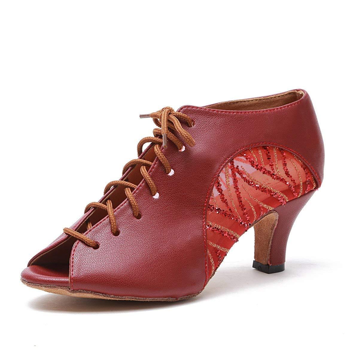 Qiusa Frauen Lace-up rot Mesh Leder Latin Dancing Schuhe Ankle Sandalen UK 4.5 (Farbe   - Größe   -)