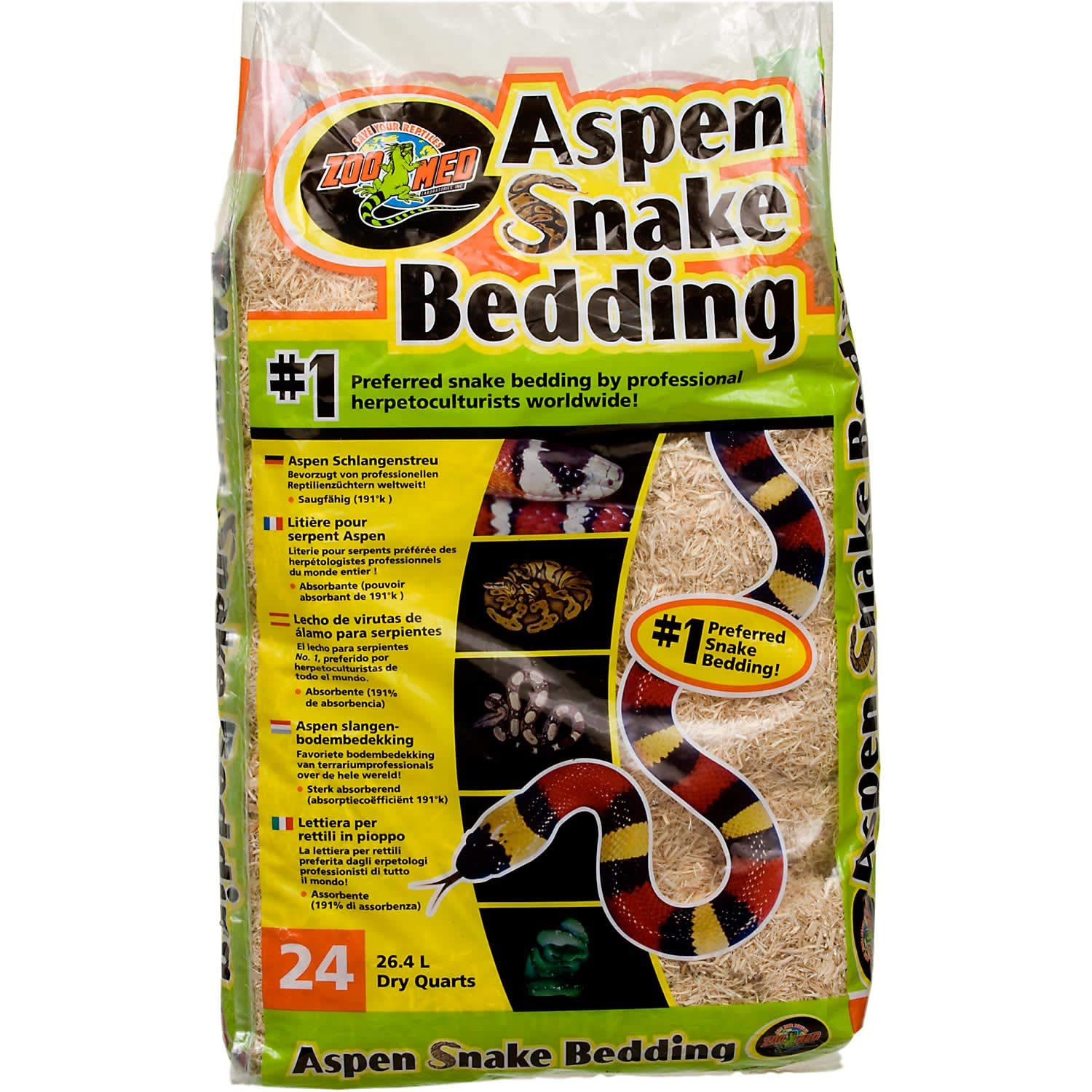 Zoo Med Laboratories SZMSB4 Aspen Snake Bedding, 4 Quart