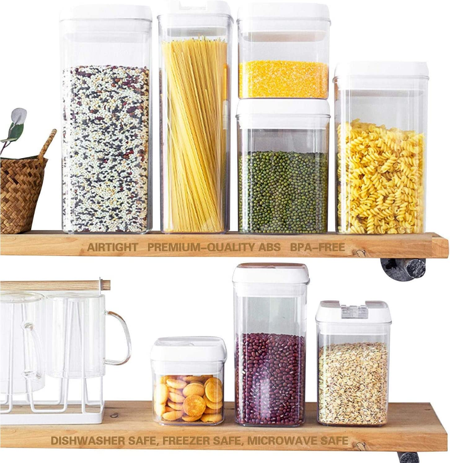 Food storage containers with lids airtight, 7 Pieces BPA Free Plastic kitchen organization and storage with Easy Lock Lids, include Free food Labels and Marker