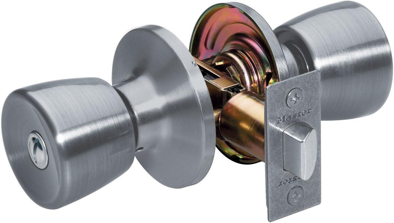 Satin Nickel Master Lock TUO0115 Tulip Keyed Entry Door Knob