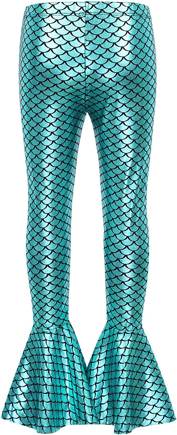 iEFiEL Kids Girls Shiny Scales Printed Stretch Pants Mermaid Leggings Tights For Birthday Party Dance