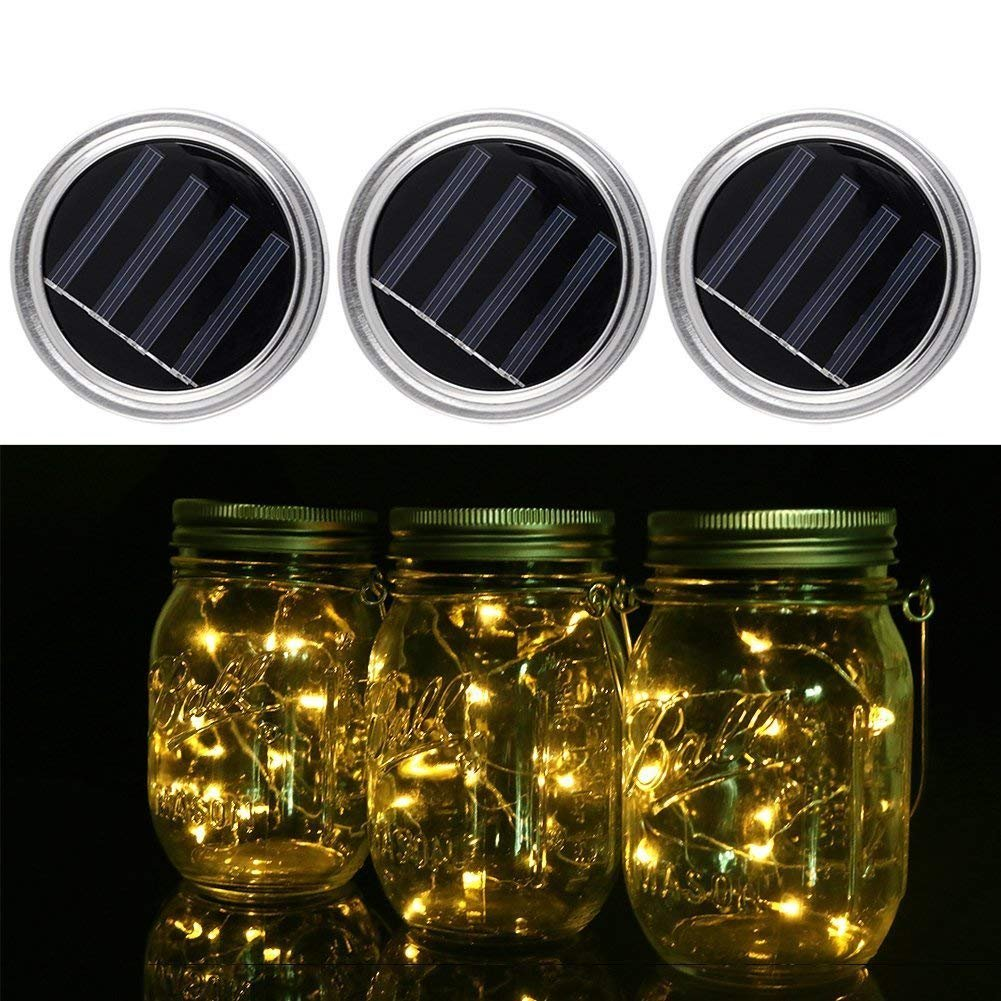 ROHSCE Pack of 3 Mason Jar Solar Light, 10 LED String Lights Lid Insert for Wedding/Christmas Holiday Party Decorative Lighting – Ceiling Pendant Light for Garden, Patio, Outdoor Party