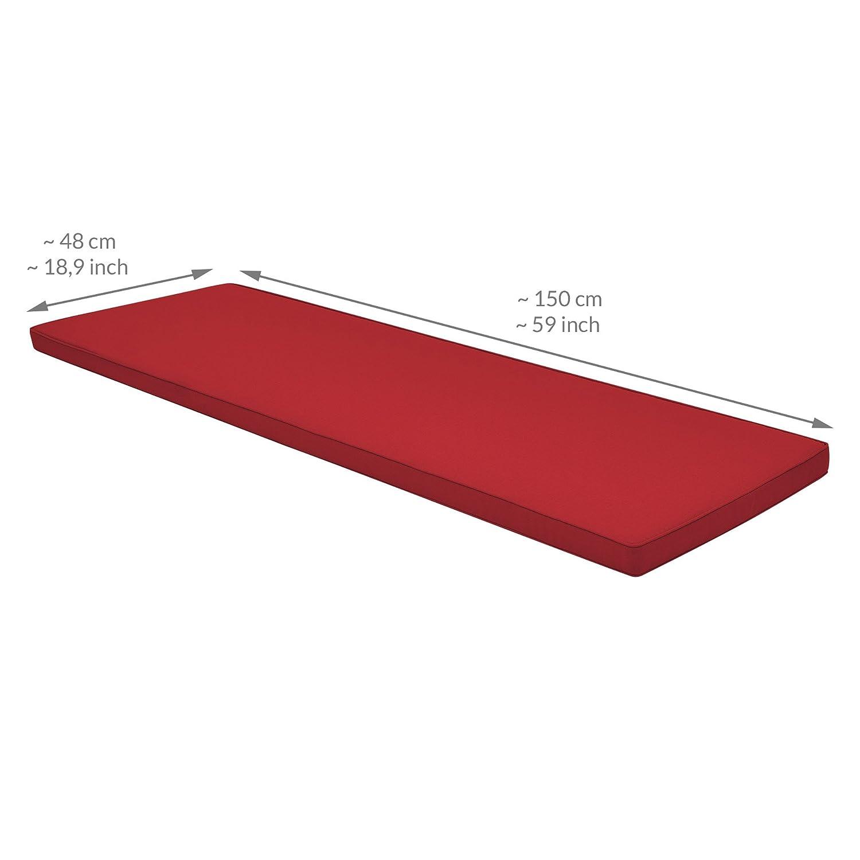 Beige Beautissu Cuscino per panche Base BK 100x48x5cm Lungo e Comodo per sedili di panchine Giardino Balcone terrazza