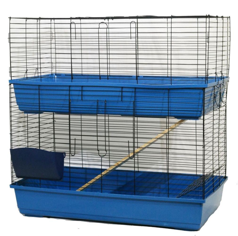 bluee 100cm (L) x 52cm (D) x 100cm (... bluee 100cm (L) x 52cm (D) x 100cm (... Rabbit Guinea Pig Indoor Cage Hutch 80cm 100cm 120cm Hay Rack & Water Bottle
