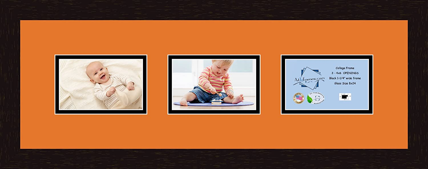 Art to Frames Double-Multimat-58-712//89-FRBW26061 Collage Frame Photo Mat Double Mat with 3-6x4 Openings and Espresso frame