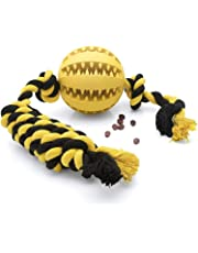 Dog Treat Ball Toy with Dental Ball and Tug Rope - A Fun Interactive Puzzle Toy to Banish Boredom and Reduce Anxiety - Helps Clean Teeth - 7 cm x 40 cm - Great Dog Gift - BUSY PET