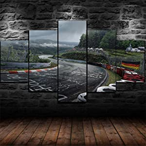 Luck7 Canvas Wall Art 5 Pieces Panels Prints Pictures HD Poster, Nürburgring Rally Tour, Modern Painting Giclee Artwork for Home Decoration Framed Ready to Hang-200x100cm