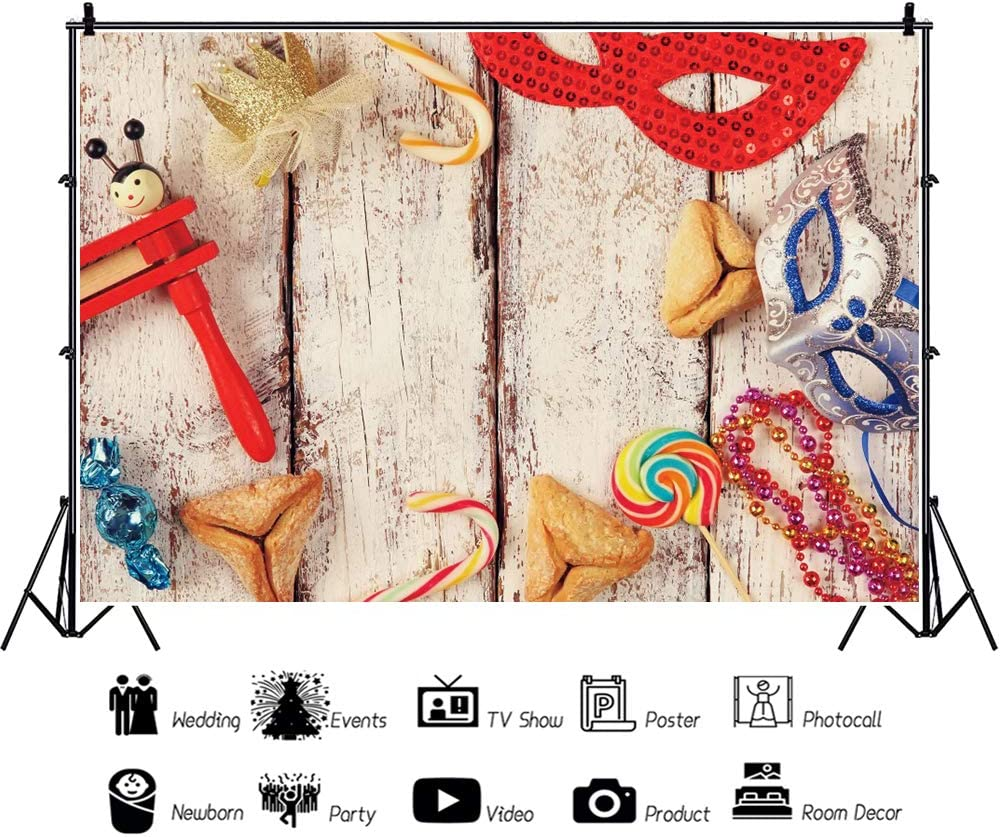 OERJU 12x8ft Happy Purim Carnival Festival Backdrop Red and Sliver Mask Retro Plank Photography Background Jewish Holiday Decora Purim Celebration Banner Kids Adults Holiday Portrait Photo Props