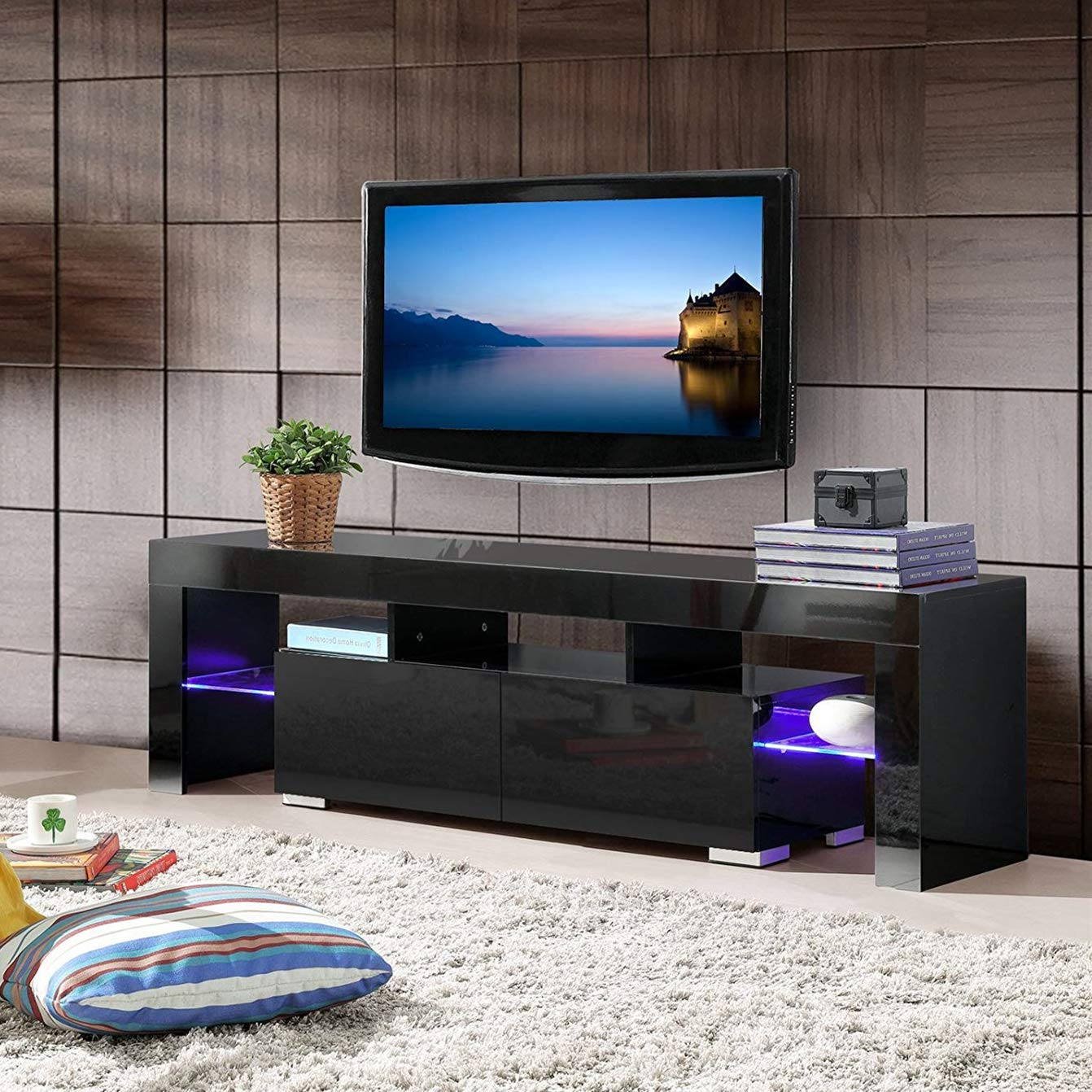 mecor Modern Black TV Stand with LED Lights, High Gloss TV Stand for 65 Inch TV LED TV Stand with Storage and 2 Drawers Living Room Furniture(Black) by mecor