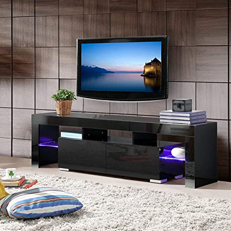 Mecor Modern Black Tv Stand With Led Lights High Gloss Tv Stand For 65 Inch Tv Led Tv Stand With Storage And 2 Drawers Living Room Furniture Black