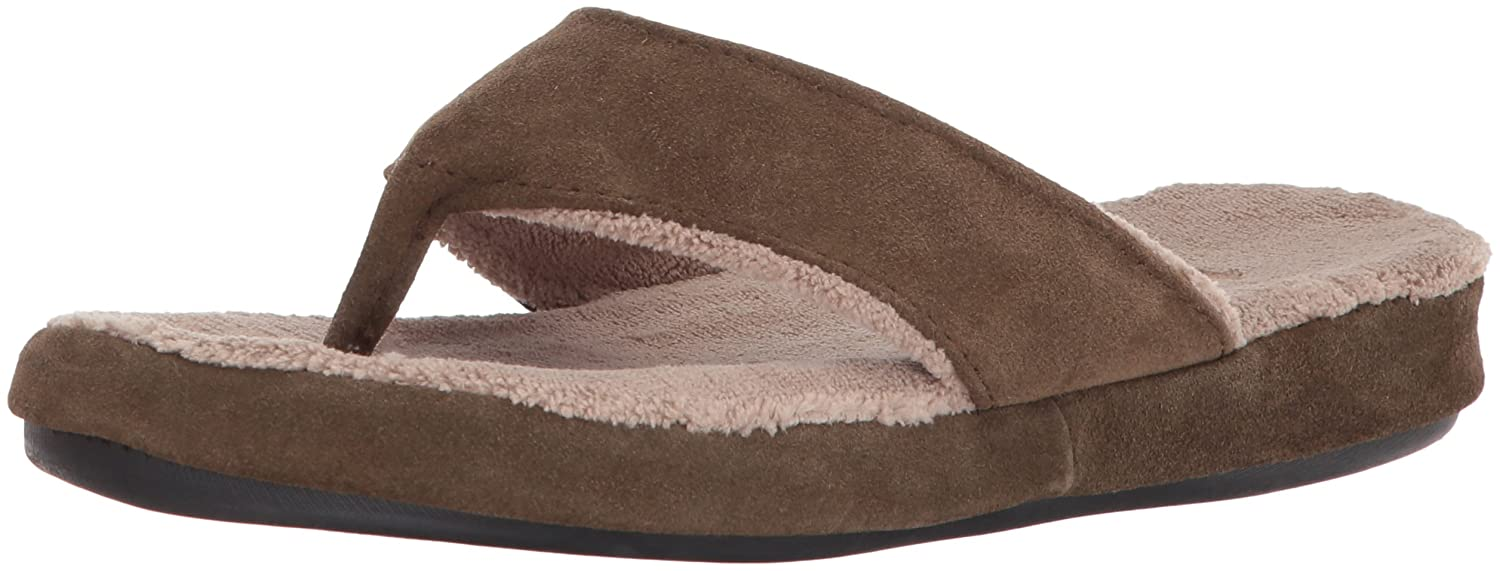 Acorn Women's Suede Spa Thong Slipper B074KQNY47 Large US|Smokey Taupe