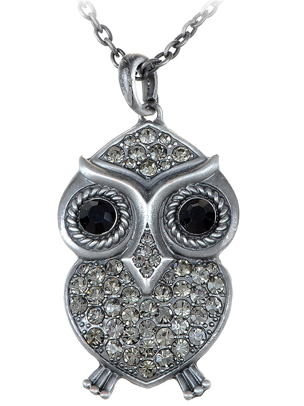 6265bea45b26d Alilang Abstract Big Fat Owl Bird Silvery Tone Clear Crystal Rhinestone  Pendant Necklace