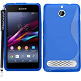 For Sony Xperia E1 Various New Designs S Line Wave Gel Silicone Back Skin Case Cover+Stylus